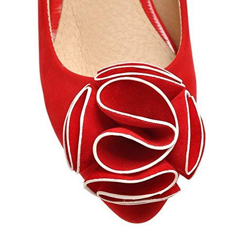 AllhqFashion Femme Couleur Unie à Talon Bas Pointu Tire Chaussures Légeres Rouge