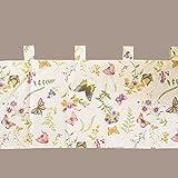 Erstklassige Serie' SCHMETTERLINGE AUF DER BLUMENWIESE' in creme mit zarten Pastelltönen - ein Schmuckstück in jedem Raum - zur Auswahl stehen Mitteldecken, Tischläufer und Kissenbezüge - aus dem KAMACA-SHOP (Bistrogardine 50x150 cm)