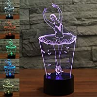 New 3D Ballet Girl Night Light Illusion Lamp 7 Color Change LED Touch USB Table Gift Kids Toys Decor Decorations Christmas Valentines Gift