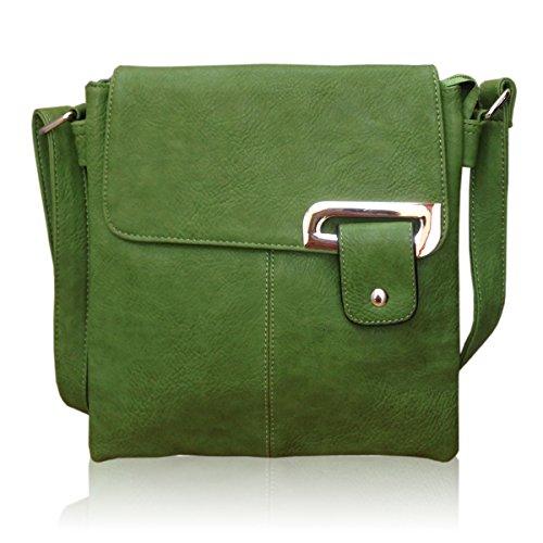 Avashion, borsa a tracolla in finta pelle con cinghia regolabile e tasche multiple (verde)