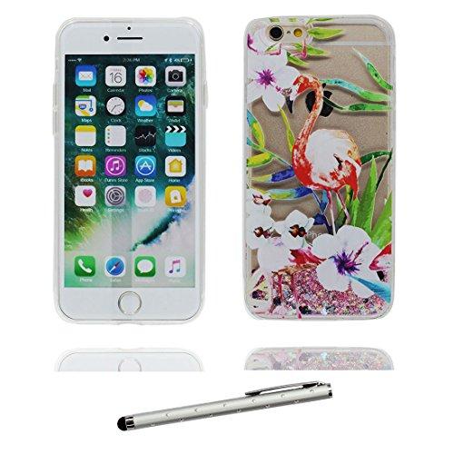 """iPhone 7 Plus Coque, Skin Hard Clear étui iPhone 7 Plus, Design Glitter Bling Sparkles Shinny Flowing Apple iPhone 7 Plus Case Cover 5.5"""", résistant aux chocs (Birds Flamant) & stylet # 3"""