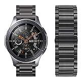 iBazal Gear S3 Frontier Bracelet Métal, Gear S3 Classic Bracelet 22mm Acier Compatible Galaxy Watch 46mm,Huawei Watch GT/Honor Magic/2 Classic,TicWatch Pro,Amazfit,Pebble,Garmin,Fossil,Moto - Noir