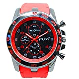 Tongshi Acero Inoxidable Sport Luxury Cuarzo analógico Moderno Hombres Reloj de Pulsera de Moda (Rojo)