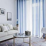 Mignon84Cook Vorhang, Klassische Stickerei Voile Vorhänge, Aria Ultra gewebte Gardinen hoher Thread mit Rod Pocket & Back Tab (55,12