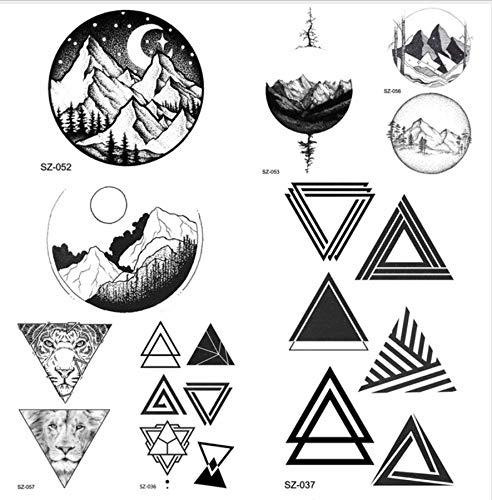 etrische dreieck Tattoo weibliche hip hop temporäre Tattoo runde mond Holz Tattoo Aufkleber männer körper arm Pfeil ()