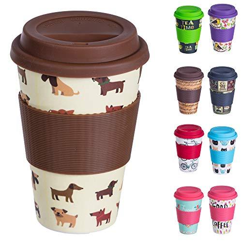 Bamboo Cup Wiederverwendbare Kaffeebecher aus Bambus mit Silikonhülle, Dichtungsdeckel und Schluckloch - Öko-Tasse aus Bambus, lebensmittelecht, spülmaschinenfest (400 ml) Hunde Hund Cup