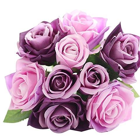 Kingko® 9 Heads Artificial Silk Fake Flowers Leaf Rose Coffee House Home Decor Wedding Floral Decor Bouquet (purple)