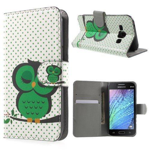 jbTec® Flip Case Handy-Hülle zu Samsung Galaxy J1 / SM-J100 - BOOK MOTIV - Handy-Tasche, Schutz-Hülle, Cover, Handyhülle, Ständer, Bookstyle, Booklet, Motiv / Muster:Grüne Eule E33