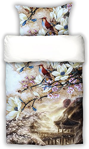 beties Japan-Sakura mit Kirschblütendruck Wende Bettwäsche-Set 155x220 + 80x80 cm Mako-Satin Reine Baumwolle