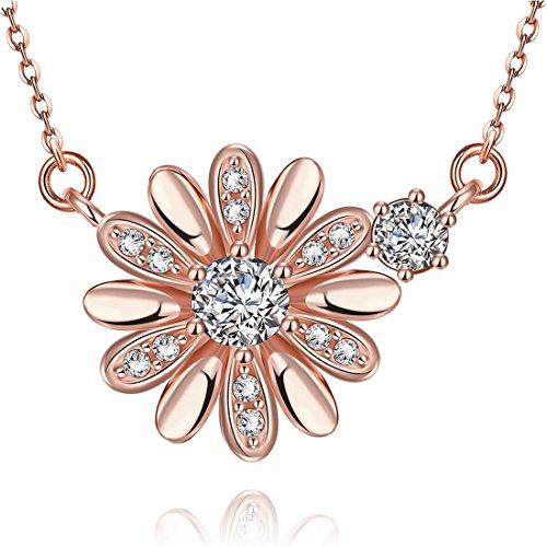 Collana della margherita collana degli elementi di Fiore JewelleryClub oro rosa placcato cristallo Swarovski per le donne