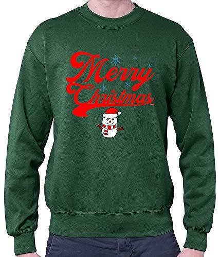 HARIZ Herren Pullover Weihnachten Merry Christmas Stadt Weihnachten Weihnachts Schnee Liebe Inkl. Geschenk Karte Dunkel Grün S