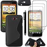 ebestStar - Coque HTC One X - Housse Etui Coque Silicone Gel Motif S-line Souple + Stylet tactile + 3 Films protection écran, Couleur Noir [Dimensions PRECISES de votre appareil : 134.4 x 69.9 x 8.9 mm, écran 4.7'']
