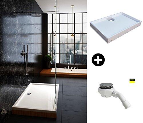 Galdem Kit complet avec bac de douche de et Viega Vidage Rectangle Quart de cercle carré plat Coffre Kit receveur de douche de haute qualité acrylique Tasse pour Glasdeals SPA-FIX Cabine de douche