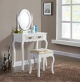 Generic rror Schlafzimmernewrs mit Hocker und Hocker, Vintage-Schminktisch und ovalen weißen Schubladen, Spiegel, Schlafzimmer-Stil, Vintage-Stil