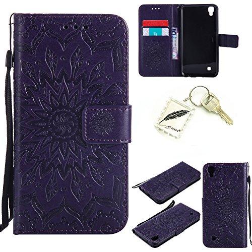 Preisvergleich Produktbild Silikonsoftshell PU Hülle für LG X Power (5,3 Zoll) Tasche Schutz Hülle Case Cover Etui Strass Schutz schutzhülle Bumper Schale Silicone case+Exquisite key chain X1) #AD (7)