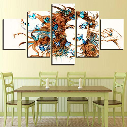 superljl HD Druck Wandkunst Moderne 5 Stücke Schöne Frau Und Blau Schmetterling Leinwand Malerei Wohnzimmer Dekor Bild e Modulare -