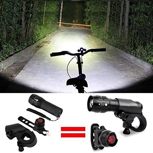 ICOCO LED Fahrradbeleuchtung, Fahrradlampe Fahrradlicht Set inkl. Frontlichter und Rücklicht, Halterung, Zoombarer Effekt, Licht-Modi für Berg-Radfahren, Camping und täglichen Gebrauch