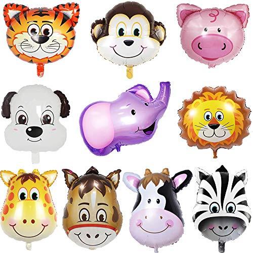 - Tier (JWTOYZ Folienballon Tiere, 10 Stück Luftballons Tiere, Folienballon Kindergeburtstag für Kinder Geburtstag, Dschungel-Safari Tierballons)
