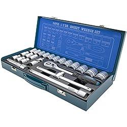 """HYUNDAI Steckschlüsselset K24 (1/2"""" Zoll Steckschlüsselsatz, 24-teilig, 72-Zahn Umschaltknarre, SUPER LOCK Steckschlüsseln, Nusskasten Set, Ratschenset, Knarrenkasten, Werkzeugkoffer, Werkzeugset)"""