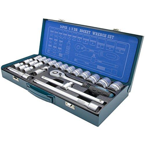 """HYUNDAI Steckschlüsselset K24 (1/2\"""" Zoll Steckschlüsselsatz, 24-teilig, 72-Zahn Umschaltknarre, SUPER LOCK Steckschlüsseln, Nusskasten Set, Ratschenset, Knarrenkasten, Werkzeugkoffer, Werkzeugset)"""