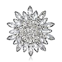 SANWOOD Women Fashion Flower Brooch Crystal Rhinestone wedding broach Jewelry Gift (White)