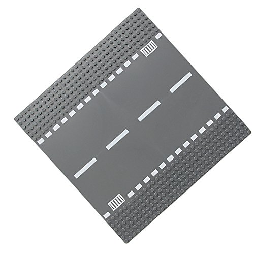 """Feleph Straße/ Kurve/ T-Kreuzung/ Kreuzung Bauplatte 10"""" x 10"""" Grundplatte für Gebäude-Ziegelstein mit allen großen Marken kompatibel( Grau ) (Straight)"""