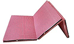 Loop Mattress That Breathe Red White Three Fold Single Bed Size Premium 2.2 inches epe Foam Foldable Mattresses 72 X 35 X 2.2