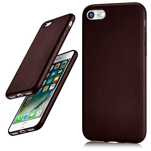 iPhone 7/8 Hülle Silikon Dunkel-Rot in Leder Optik [OneFlow Flex Back-Cover] Schutzhülle Etui Handy-Hülle für iPhone 7/8 Case Ultra-Slim Silikonhülle Tasche BURGUNDY
