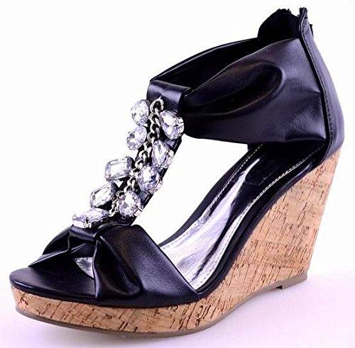 Mesdames Mid haute talon compensé d'été Diamante Cheville Sangle Sandales Femmes Chaussures Taille Noir - BLACK PU / CORK