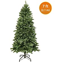 Christmas Tree 7ft / 2.1m Artificial Christmas Tree Hinged Tips Metal Base 820 PVC Tips