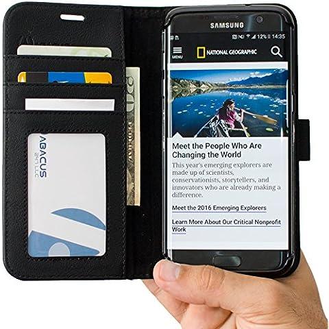 S7 Edge Funda, Abacus24-7 Samsung Galaxy S7 Edge Funda Flip de Cuero Negro [Funda con Tapa] Soporte plegable y Bolsillos para Tarjete - Funda Cartera para Galaxy S7 Edge Móvil