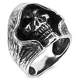 KIMCNB Hommes Bague en Acier Inoxydable Ton Argent Mort Noire Grim Reaper Skull