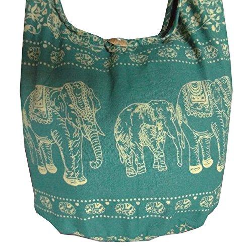 Borsa hippie da donna con motivo etnico elefanti Verde