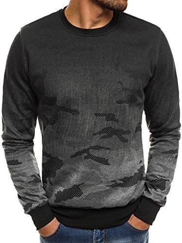 OZONEE Herren Sweatshirt Langarmshirt Sweatjacke Motiv Pullover Prints Camouflage Pulli J.Style DD132-20 L DUNKELGRAU