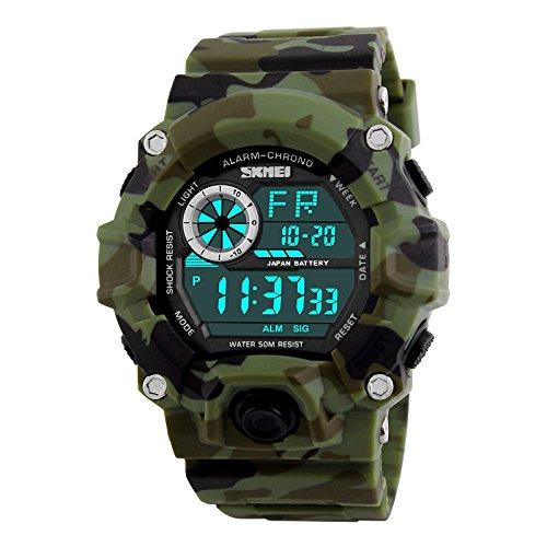 SKMEI Military Green Camouflage Digital Fashion Multifunction Sport Watch for Men abd Boys