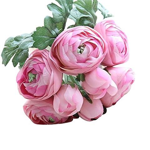 Zycshang artificielles en soie Faux Fleurs roses Floral Bouquet de mariage de mariage Hortensia Décor Rose
