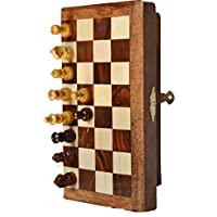 Artist Haat Chess Set - Foldable Magnetic wooden Chess board and chess pieces with storage (SIZE : 7x7 INCHES)