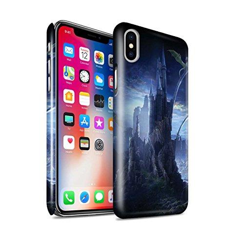 Officiel Elena Dudina Coque / Clipser Brillant Etui pour Apple iPhone X/10 / Lagune de Montagne Design / Fantaisie Paysage Collection Vallée des Dragons