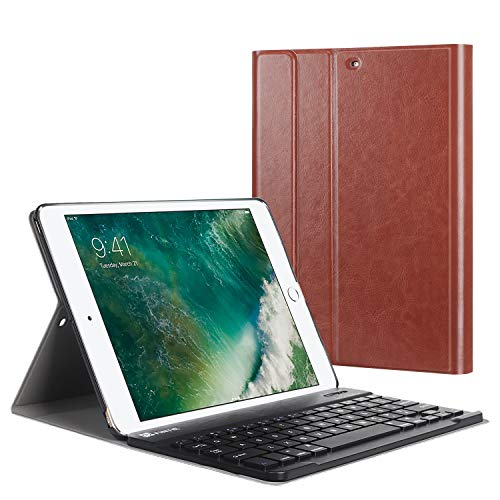Fintie Tastatur Hülle für iPad 9.7 Zoll 2018 2017 / iPad Air 2 / iPad Air - Ultradünn leicht Schutzhülle Keyboard Case mit magnetisch Abnehmbarer drahtloser Deutscher Bluetooth Tastatur, Sattelbraun