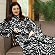 Zebra Print Soft Warm Cosy Snuggle TV Blanket Fleece Snug Sleeves Sleeved Rug