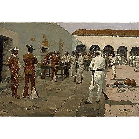 The Museum Outlet–Remington–The Mier Expedition–Il disegno del nero Bean, Tela Telaio. 40,6x 50,8cm