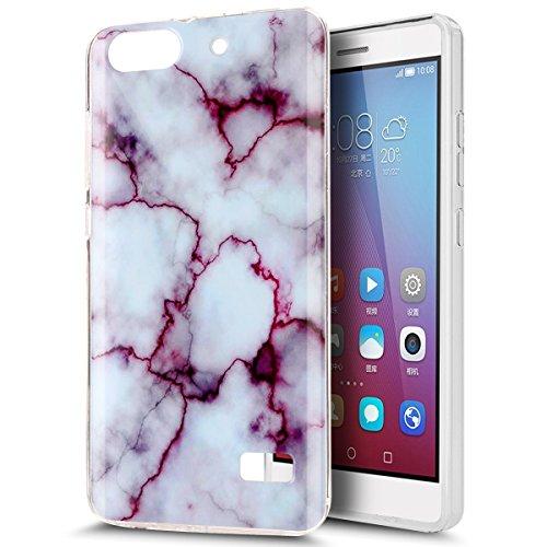 Huawei Honor 4C Hülle,Huawei G Play Mini Hülle,ikasus Glänzen Marmor Muster Weich TPU Silikon Hülle Handyhülle Etui Protective Case Cover Schutzhülle für Huawei Honor 4C,Weiß Lila Marble