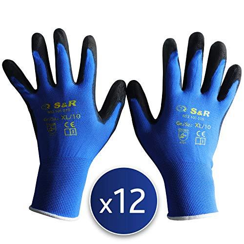 guanti di protezione S&R 12 x Guanti da Lavoro 12 Paia in poliestere con rivestimento in PU. Guanti di Protezione contro strappi e abrasioni. Misura 10