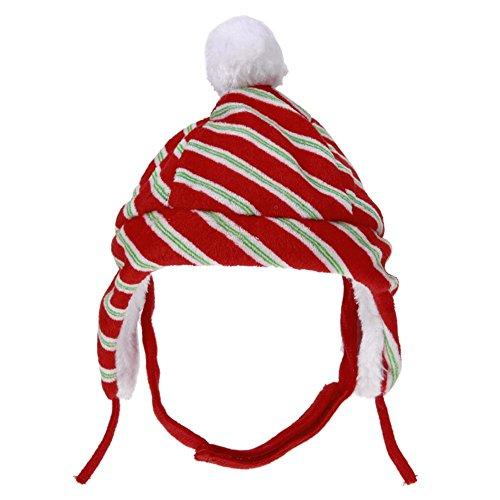 vanpower 1Pc Haustier Katze Hundehut, Weihnachtsrot Streifen Plüsch Kappen Partei Headwear Kostüm für Katzen Kätzchen-Hundewelpen