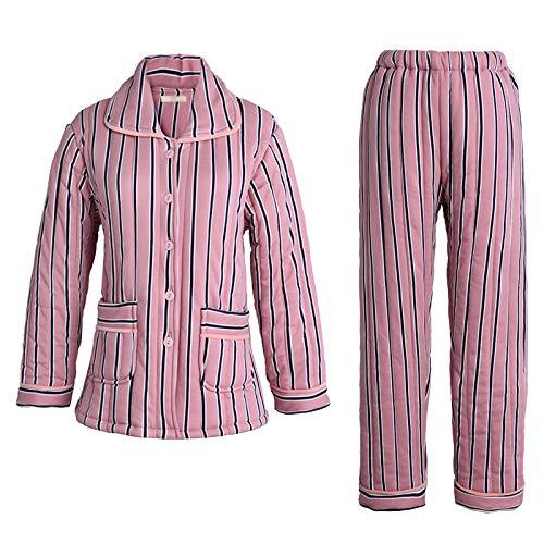 LIUYL Damen Winter Baumwolle Gestreiften Pyjamas Set Warme Bequeme Dicke Nachtwäsche Weiche Nachtwäsche Pjs Loungewear Zweiteiliger Hausmantel,Pink-L -