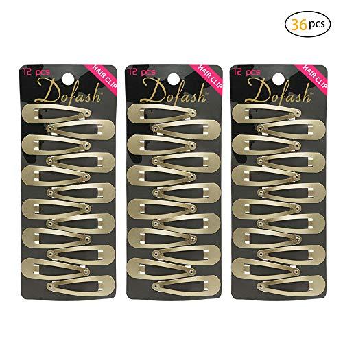 Dofash 36 Stücke (3X12 Stücke Paket) Snap Haarspangen Griffe Metall Haarspangen 5 Cm Haarschmuck Für Mädchen (Blond) -