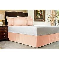 Comfort Beddings 600TC Bedskirt 16, 3 Re lunghezza Euro Ikea, 100% in cotone egiziano a righe, 100% cotone/cotone/cotone egiziano, pesca, Euro KingIKEA