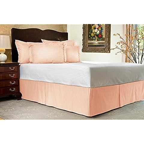 Comfort Beddings 600TC tappo Bedskirt, lunghezza 16 Euro re Ikea, 100% in cotone egiziano a righe, 100% cotone/cotone/cotone egiziano, pesca, Euro KingIKEA