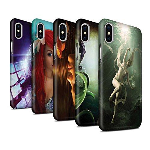 Officiel Elena Dudina Coque / Clipser Matte Etui pour Apple iPhone X/10 / Sonrisas/Dauphin Design / Agua de Vida Collection Pack 7pcs