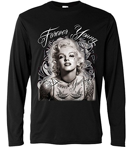 T-shirt a manica lunga Uomo - Marylin Monroe Forever Young - Long Sleeve 100% cotone LaMAGLIERIA, L, Nero